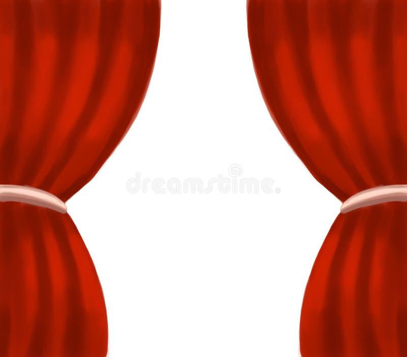 Kader van het theater het rode die gordijn op een lege achtergrond wordt geïsoleerd royalty-vrije stock foto's