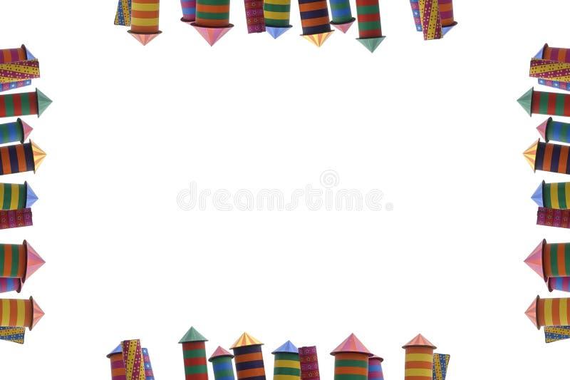 Kader van ingepakt vuurwerk, verschillende kleuren van huizenvuurwerk stock fotografie