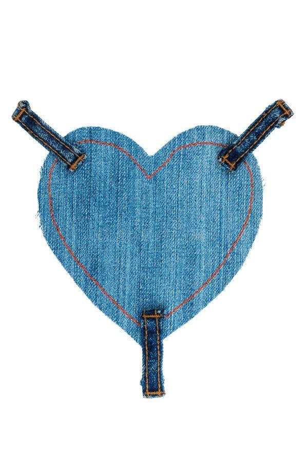 Kader van jeans in de vorm van een hart wordt, op een witte achtergrond wordt geïsoleerd gemaakt die stock afbeeldingen