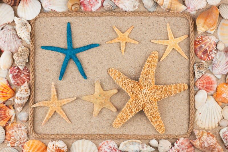 Kader van kabel, sterren en zeeschelpen op het zand, met plaats voor uw beeld wordt gemaakt, tekst die stock foto