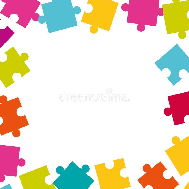 Kader van kleurrijke puzzelstukken dat wordt gemaakt stock illustratie