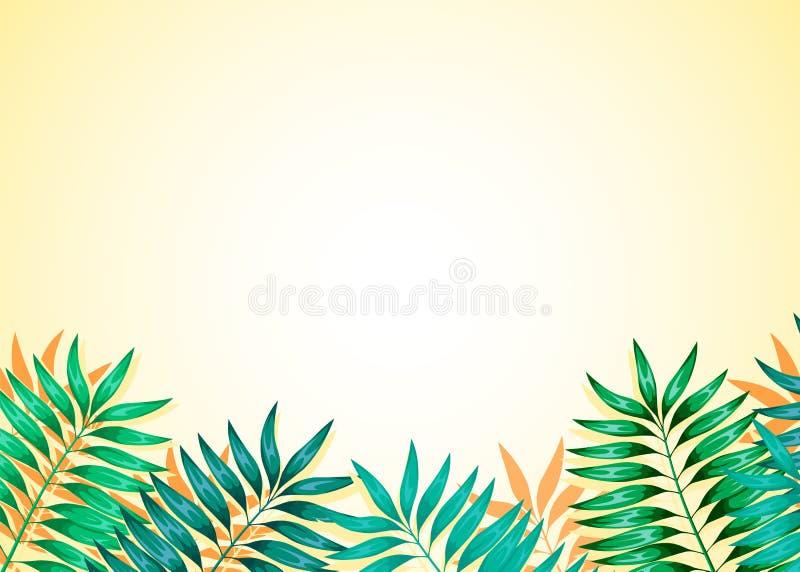 Kader van kleurrijke tropische bladeren Concept de wildernis voor het ontwerp van uitnodigingen, groetkaarten en behang vector illustratie