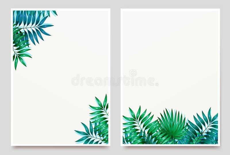 Kader van kleurrijke tropische bladeren Concept de wildernis voor het ontwerp van uitnodigingen, groetkaarten en behang stock illustratie