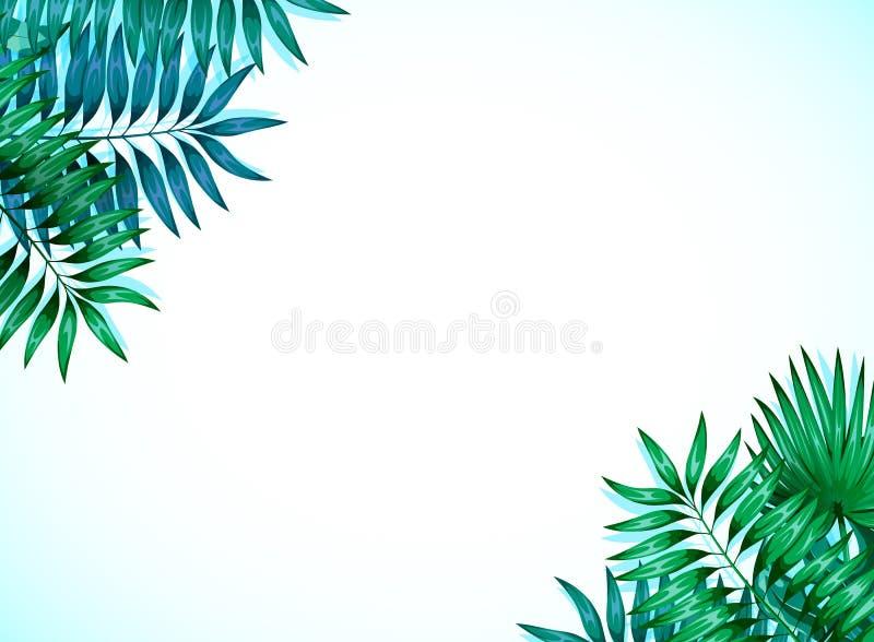 Kader van kleurrijke tropische bladeren Concept de wildernis voor het ontwerp van uitnodigingen, groetkaarten en behang royalty-vrije illustratie