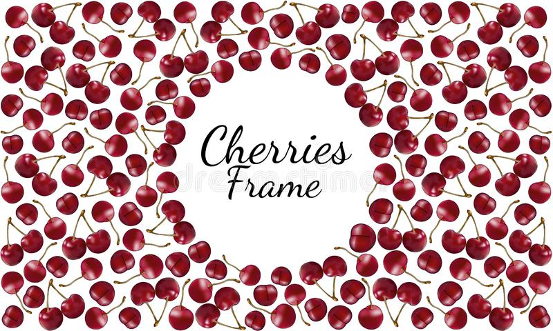 Kader van rijpe rode kersen met twijgen met ronde ruimte voor tekst royalty-vrije illustratie