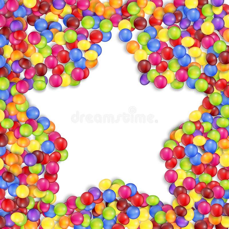 Kader van ster gekleurd suikergoed vector illustratie