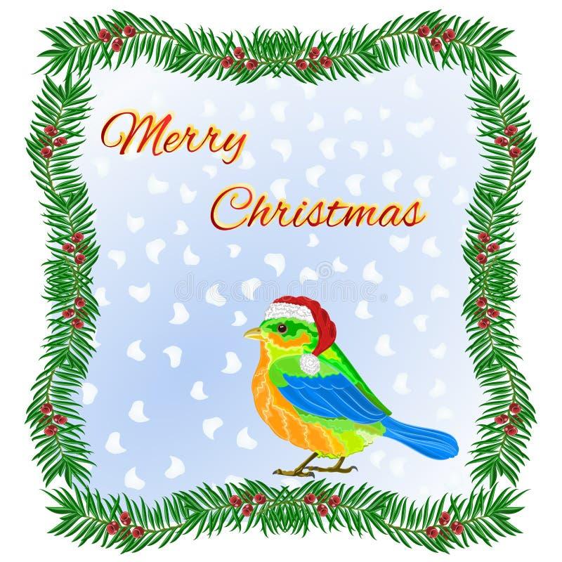 Kader van taxushout en Kerstmis leuke vogel wordt gemaakt met een santa GLB die Vrolijke editable die Kerstmis uitstekende vector vector illustratie