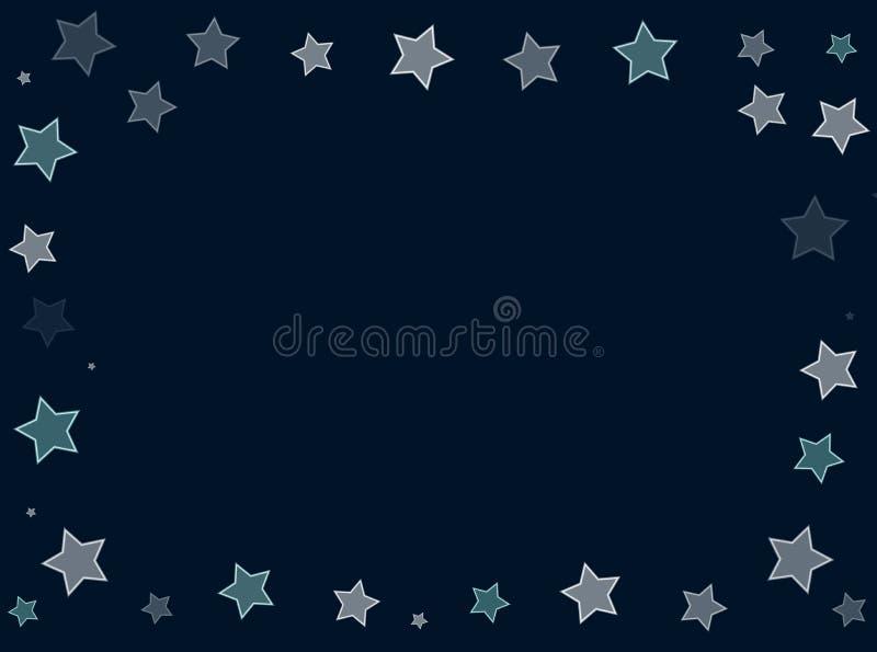 Kader van vele sterren op lege achtergronden met exemplaarruimte stock illustratie