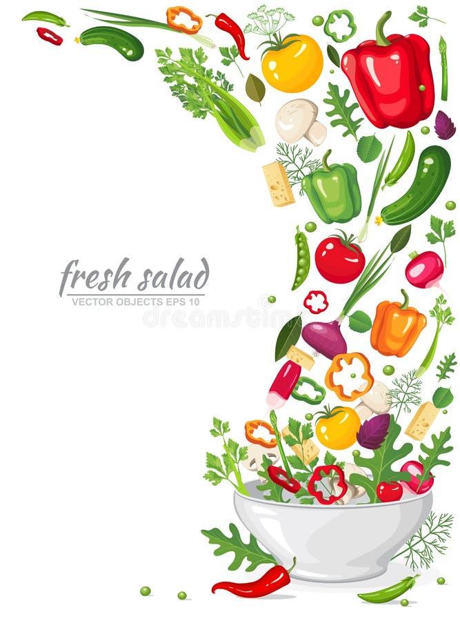 Kader van verse, rijpe, heerlijke die groenten in veganistsalade op witte achtergrond wordt geïsoleerd Gezonde natuurvoeding in e vector illustratie