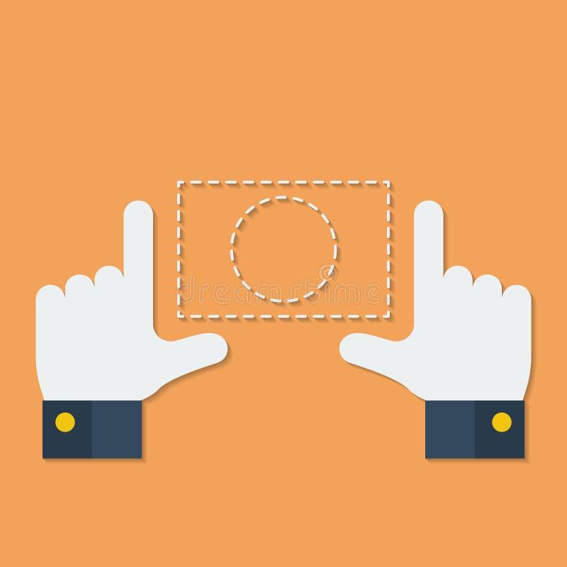 Kader van vingers of handen Vlakke stijl stock illustratie