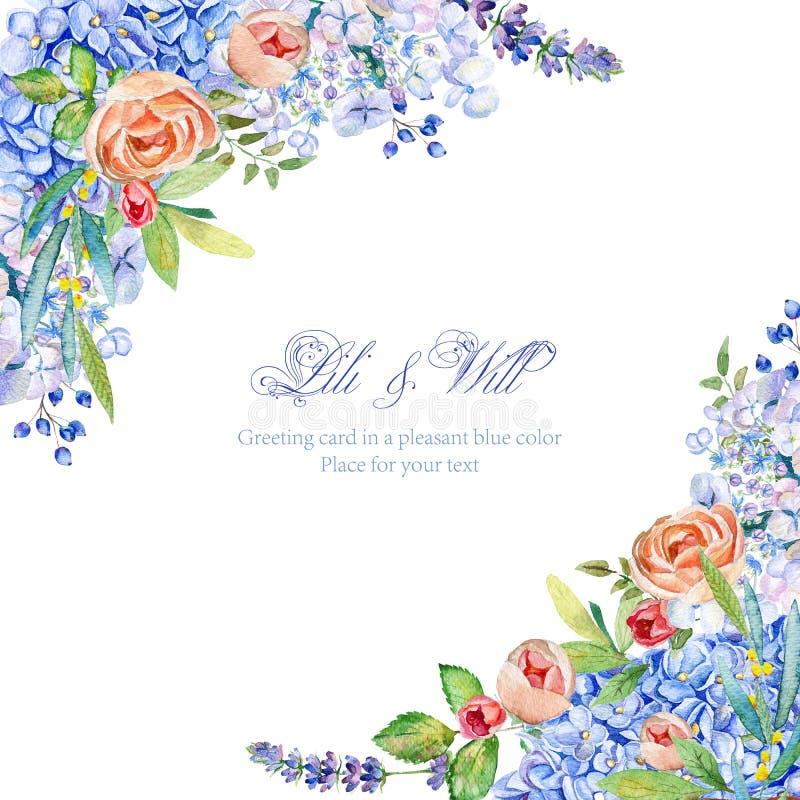 Kader van waterverf blauwe hydrangea hortensia, lavendel, roze rozen Vintag stock illustratie