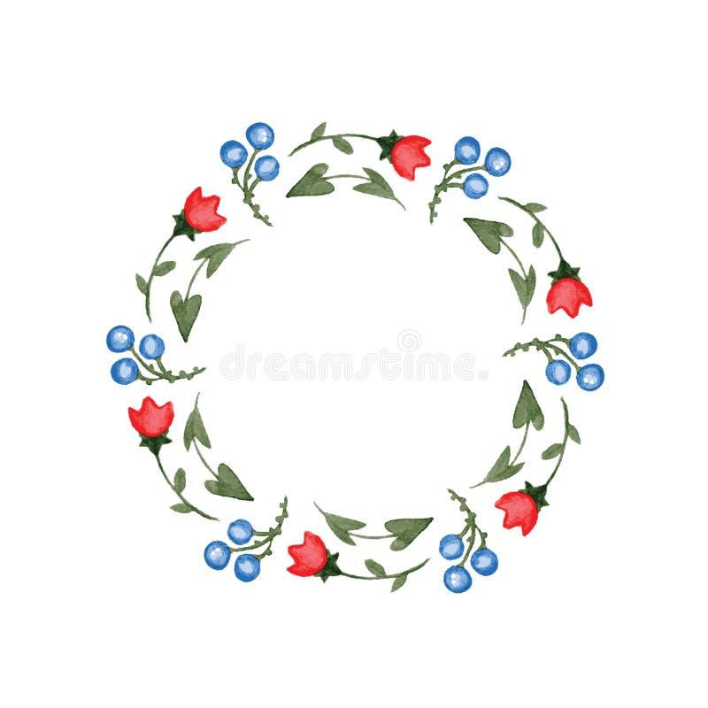 Kader van waterverfbloemen in vector wordt gemaakt die stock illustratie