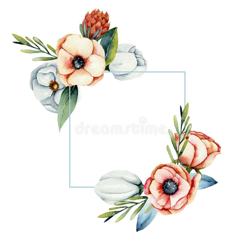 Kader van waterverfkoraal en witte anemoon en proteabloemen royalty-vrije illustratie