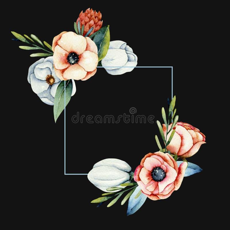 Kader van waterverfkoraal en witte anemoon en proteabloemen vector illustratie