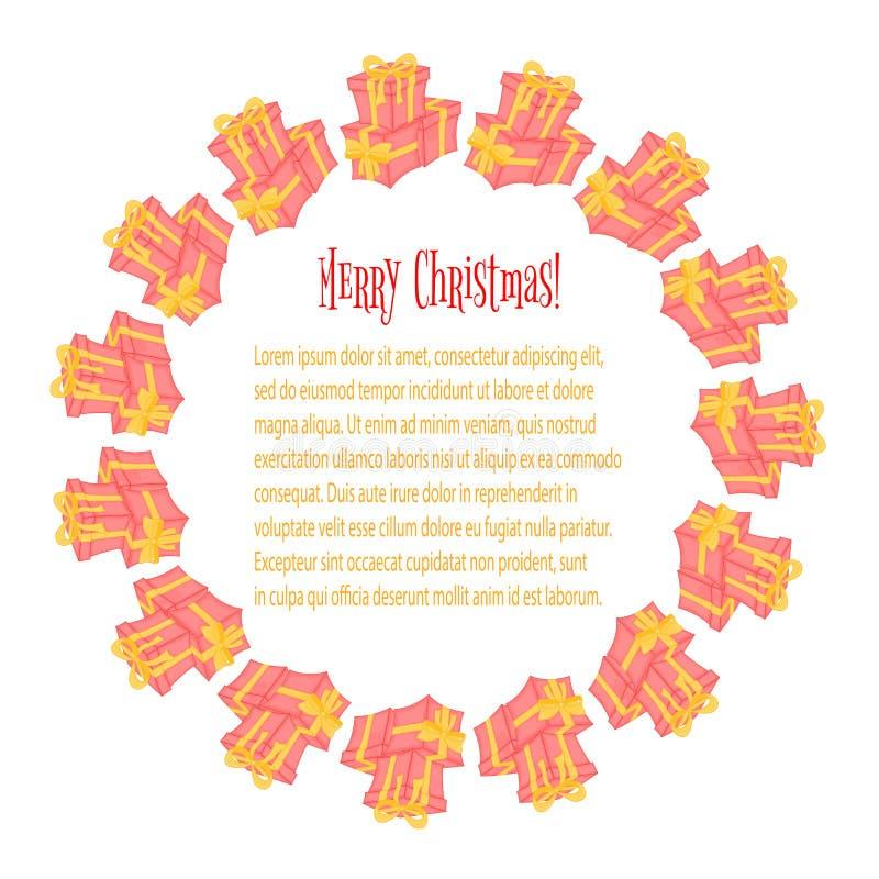 Kader voor een foto Kaarten met Kerstmisgiften Leuke dozen voor verjaardag en de dag van Valentine ` s Malplaatjes voor tekst en vector illustratie