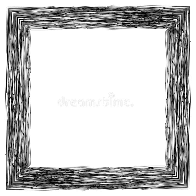 Kader voor foto'sbeelden, potlood die, vectorhand trekt kader uitgebroede gravure het in de schaduw stellen royalty-vrije illustratie