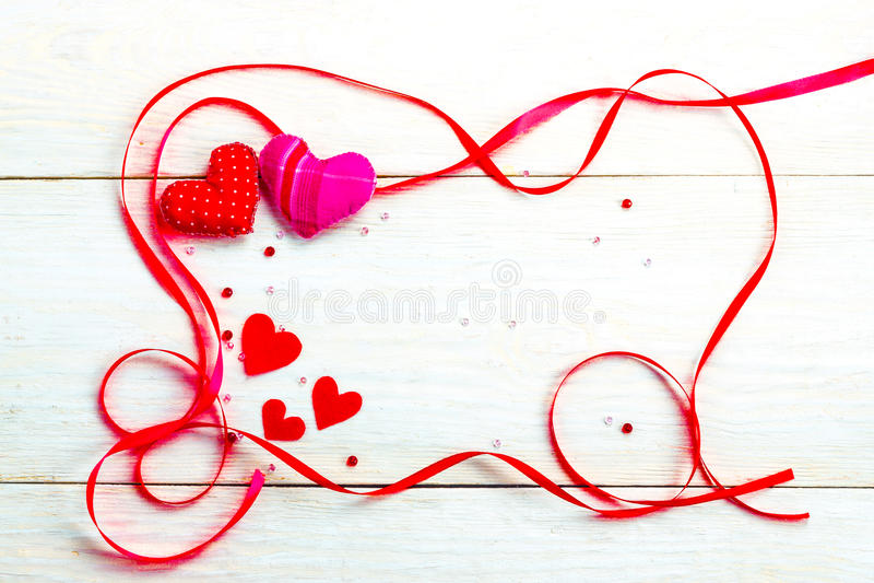 Kader voor gelukwensen op de Dag van Valentine ` s stock afbeelding