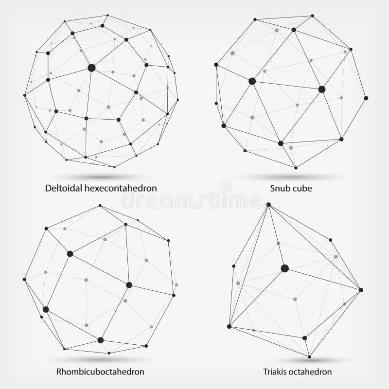 Kadercijfers Complexe geometrische vormen Abstracte geometrisch Een reeks documenten Het veelhoekige element van het Wireframenet royalty-vrije illustratie