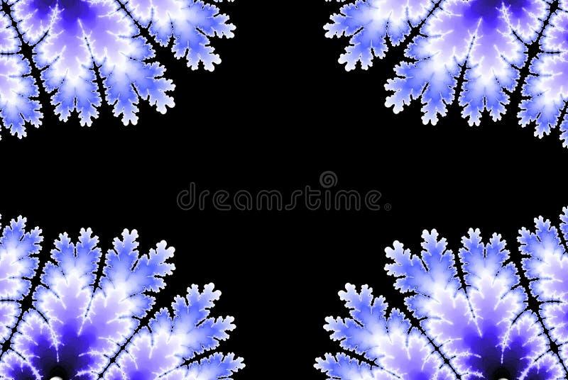 Kaderfractal de winterpatroon op donkere achtergrond Abstract blauw kleuren modern ontwerp als achtergrond royalty-vrije illustratie