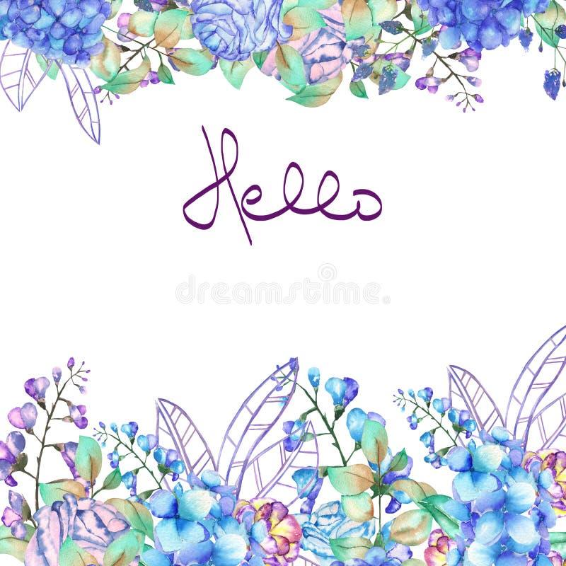 Kadergrens, malplaatje voor prentbriefkaar met purpere en blauwe Hydrangea hortensiabloemen royalty-vrije illustratie