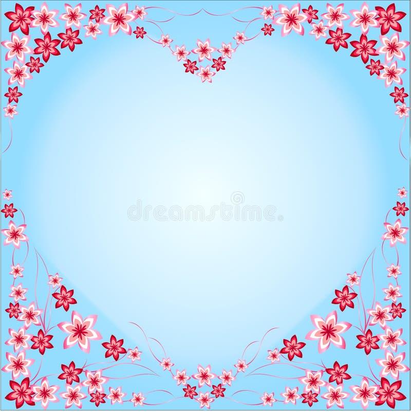 Kaderhart van bloemen, rode, roze, blauwe achtergrond, blauwe, hart-vormige, multicolored verschillend, bloemen, mooi hart, inter royalty-vrije illustratie