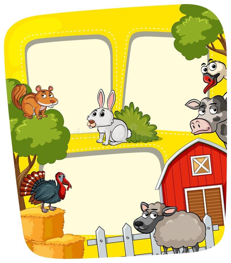 Kadermalplaatje met landbouwbedrijfdieren vector illustratie