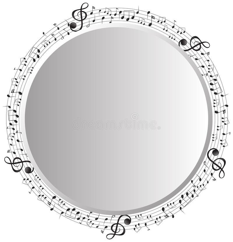 Kadermalplaatje met muzieknota's in cirkel royalty-vrije illustratie