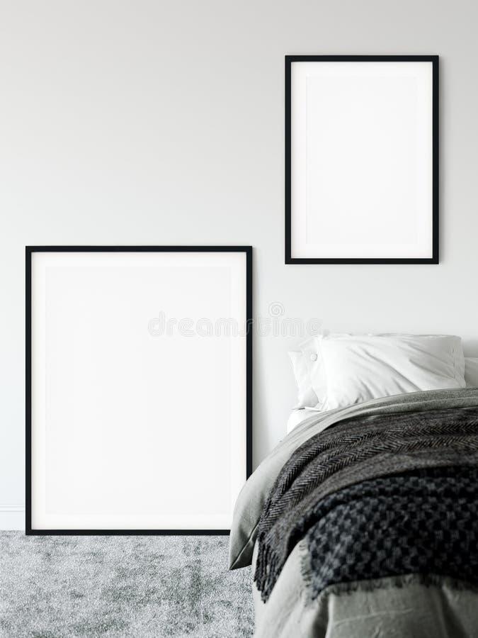 Kadermodel Model van de slaapkamer het binnenlandse muur Muurart. het 3D Teruggeven, 3D Illustratie stock illustratie