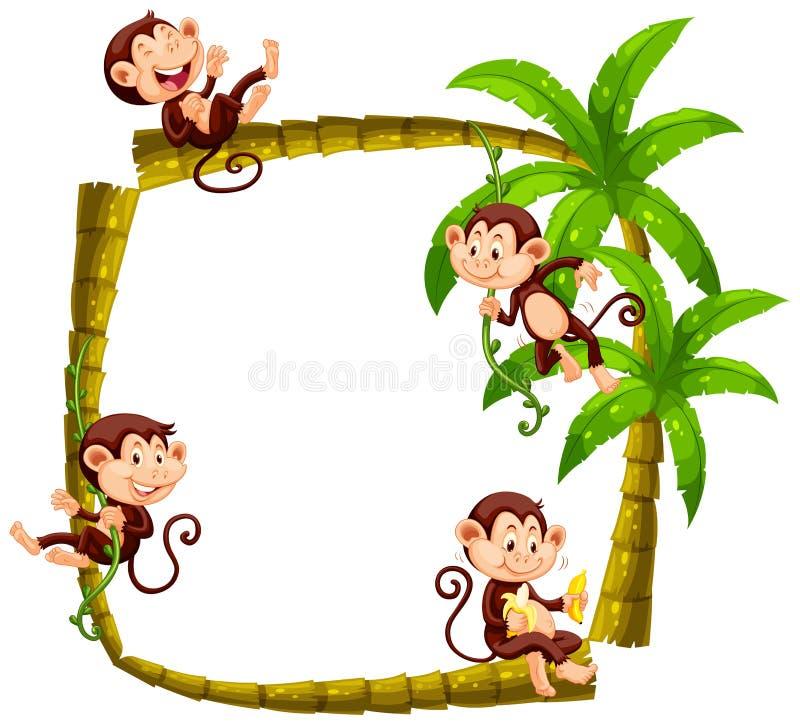 Kaderontwerp met apen op kokospalm vector illustratie