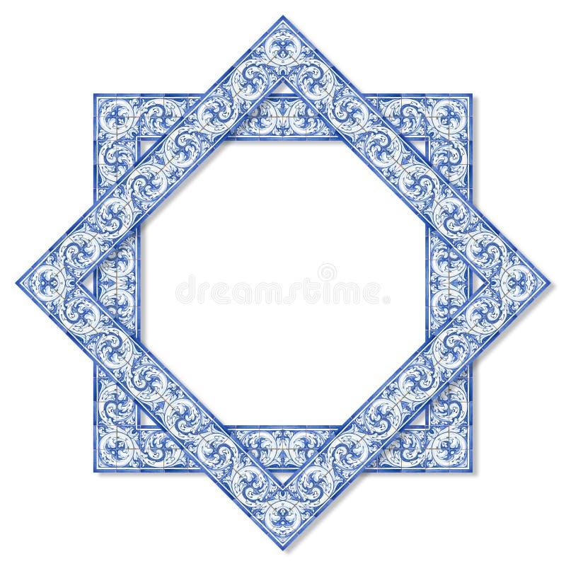 Kaderontwerp met typische Portugese decoratie met gekleurde geroepen keramische tegels vector illustratie