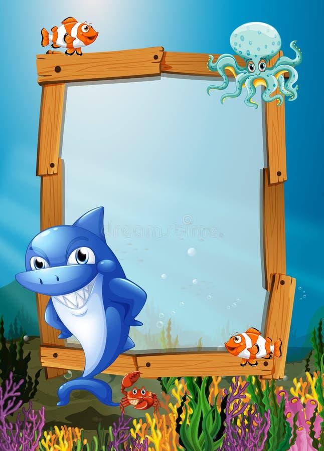 Kaderontwerp met vissen onderwater vector illustratie