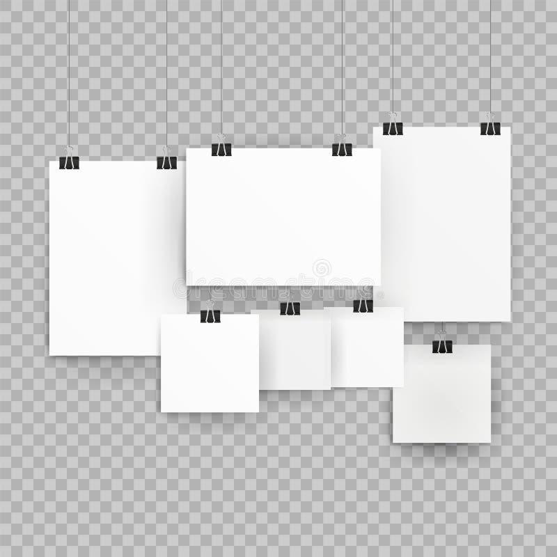 Kaders of affichemalplaatjes op transparante achtergrond worden geïsoleerd die Affichemalplaatje van een document blad Inzameling stock illustratie