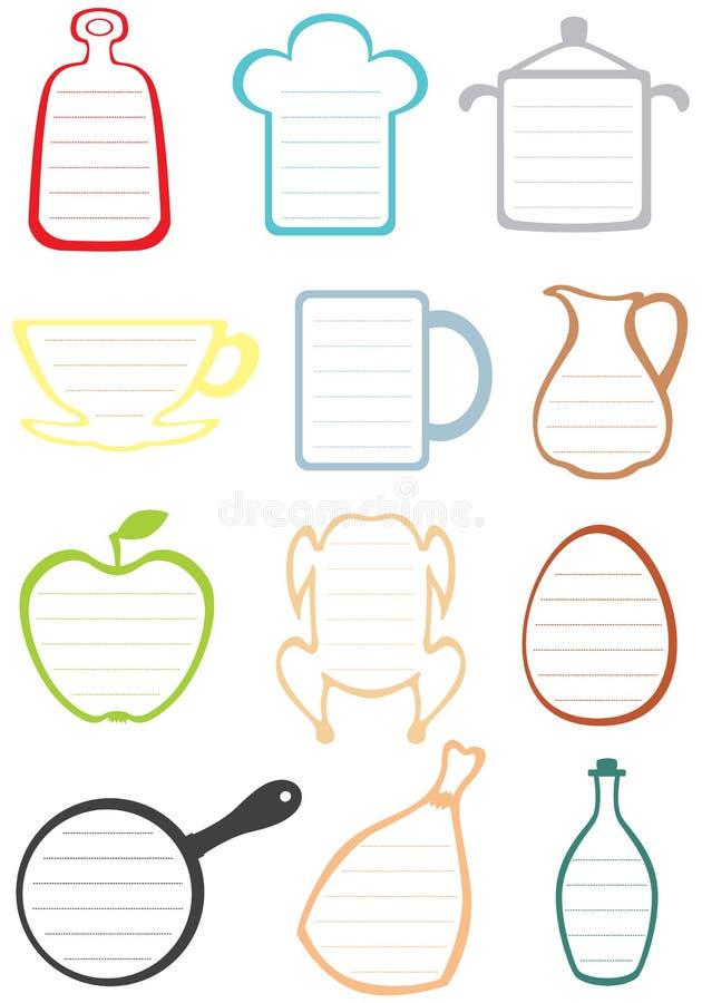 Kaders voor de recepten en de nota's stock illustratie