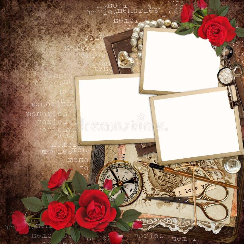 Kaders met retro decoratie en rode rozen op uitstekende achtergrond royalty-vrije illustratie