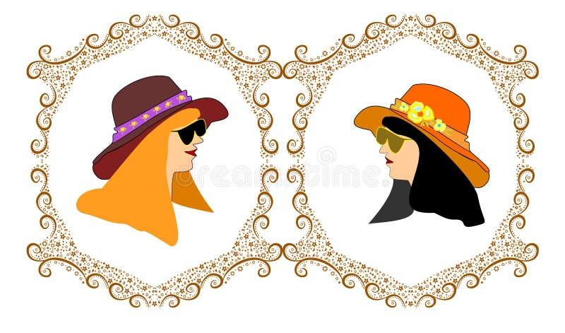Kaders met twee meisjesavatars hoed stock illustratie