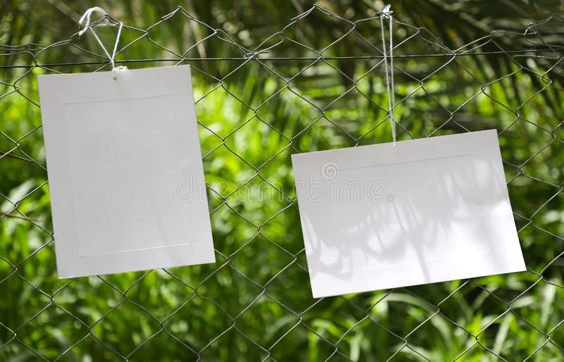 Kaders van document het hangen in de omheining van veevoederlandbouwbedrijven royalty-vrije stock foto