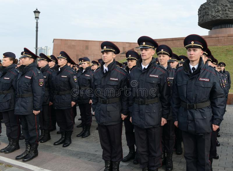 Kadetten van de politie van de de Wetsuniversiteit van Moskou van het Ministerie van Interne Zaken van Rusland op het plechtige g royalty-vrije stock foto