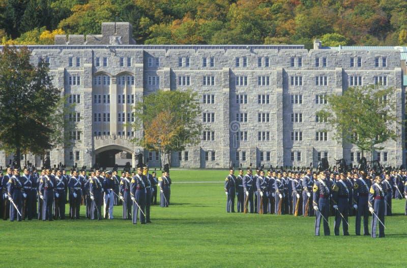 Kadetter i bildande, West Point militärhögskola, West Point, New York fotografering för bildbyråer