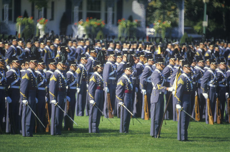 Kadetter i bildande, West Point militärhögskola, West Point, New York royaltyfri bild
