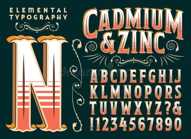 Kadmium-u. Zink-ursprüngliche Art Design lizenzfreie abbildung