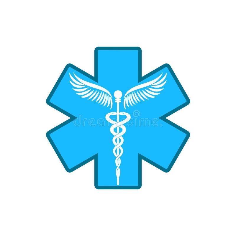 Kaduceusz - medycyna symbol ilustracji