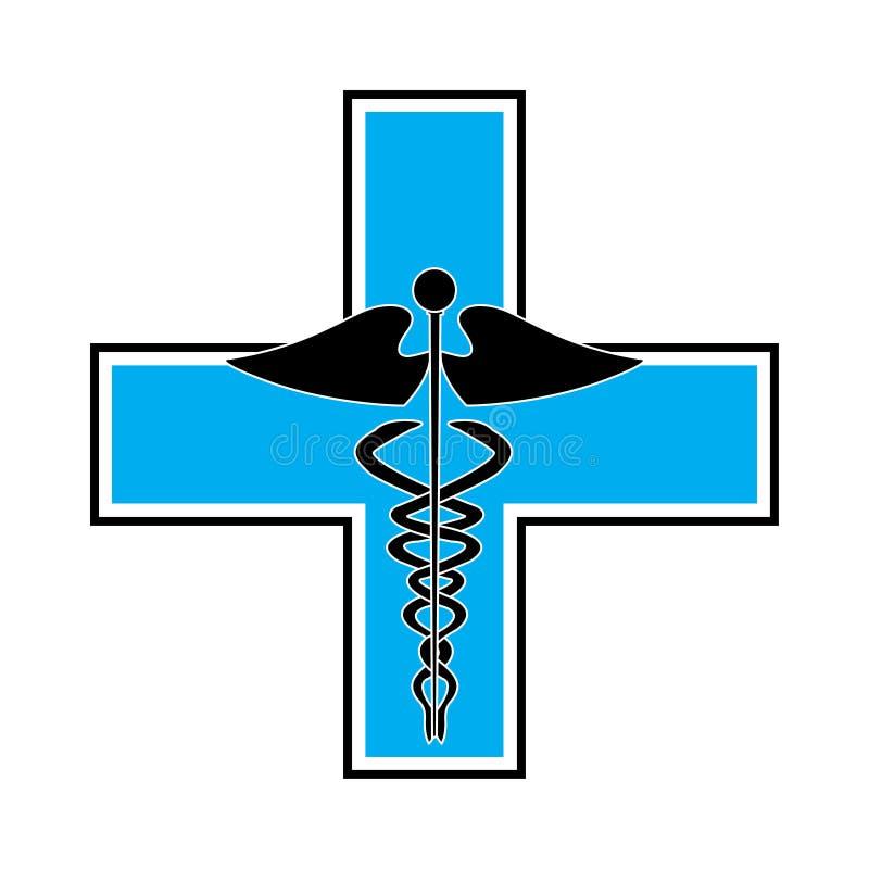 Kaduceusz na błękita krzyżu ilustracji
