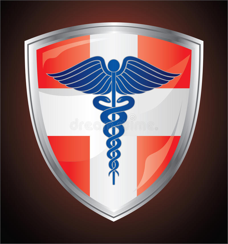 Kaduceuszu symbolu Medyczna osłona ilustracji