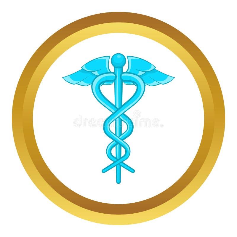 Kaduceuszu symbolu wektoru medyczna ikona ilustracji