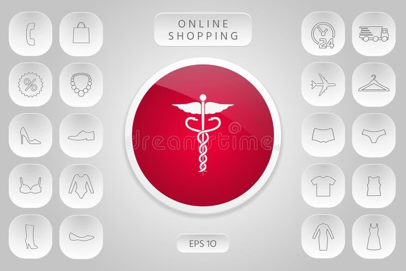 kaduceuszu wycinek zawiera cyfrowego medycznego ilustracyjnego ścieżka symbol royalty ilustracja
