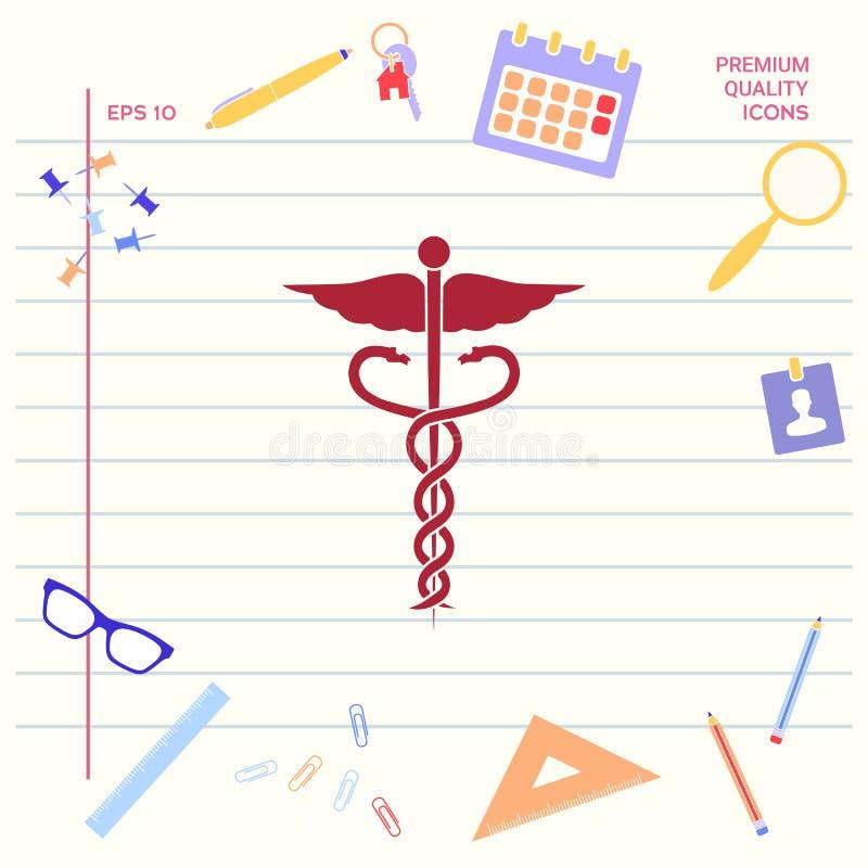 kaduceuszu wycinek zawiera cyfrowego medycznego ilustracyjnego ścieżka symbol ilustracja wektor