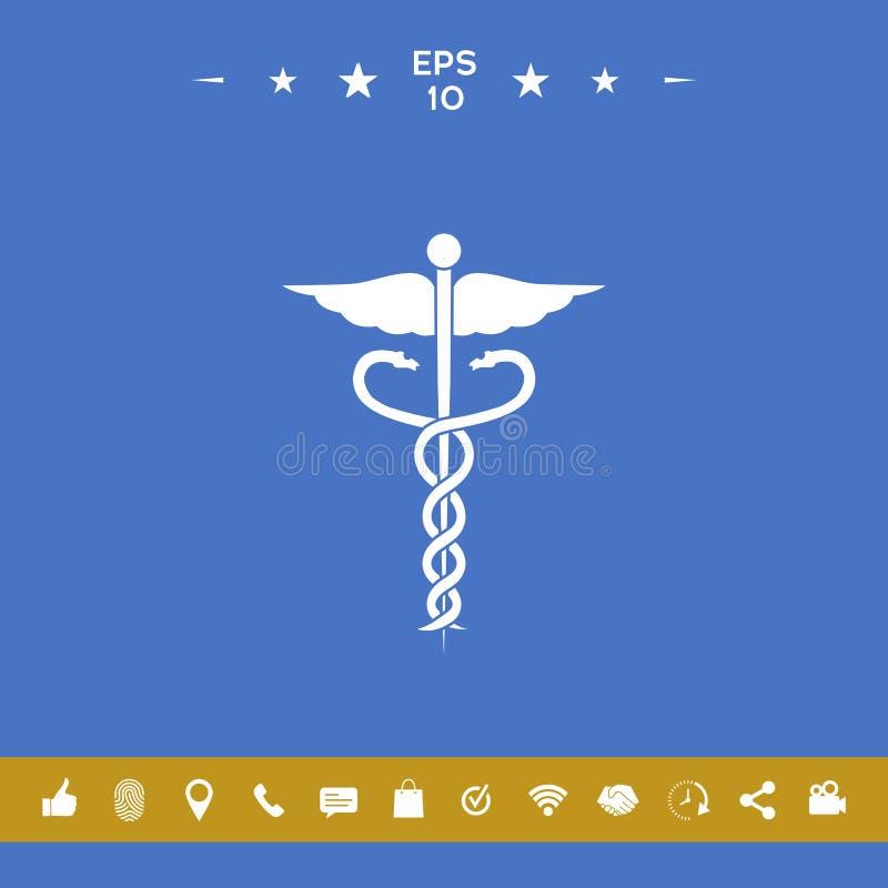 kaduceuszu wycinek zawiera cyfrowego medycznego ilustracyjnego ścieżka symbol ilustracji