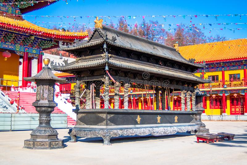 Kadzielnica Lingbao świątynia w Hunchun mieście północny gubernialny Jilin Chiny Popularny miejsce turyści od rejonów granicznych zdjęcie stock