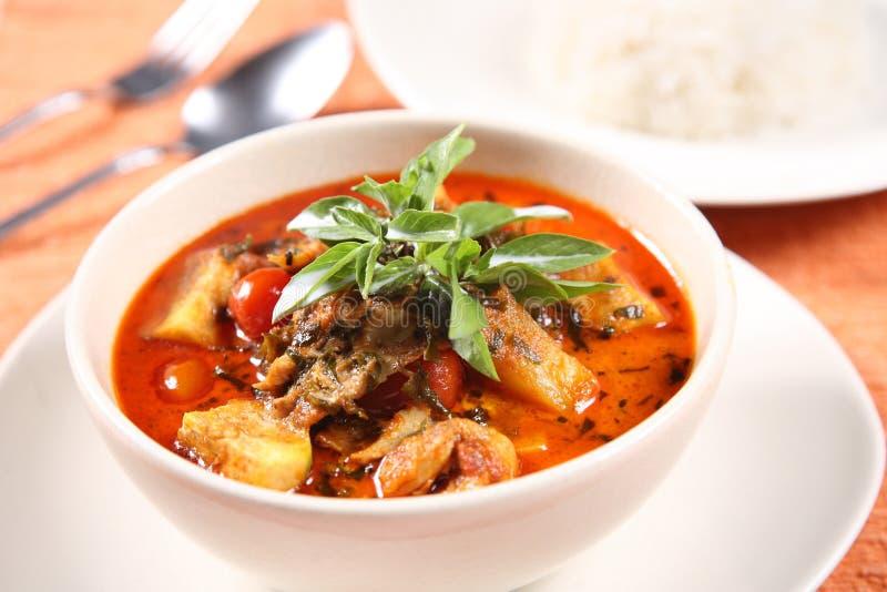 Kaeng a parlé en faveur le PED Yang (canard rôti en cari rouge), FO thaïlandaises populaires image stock