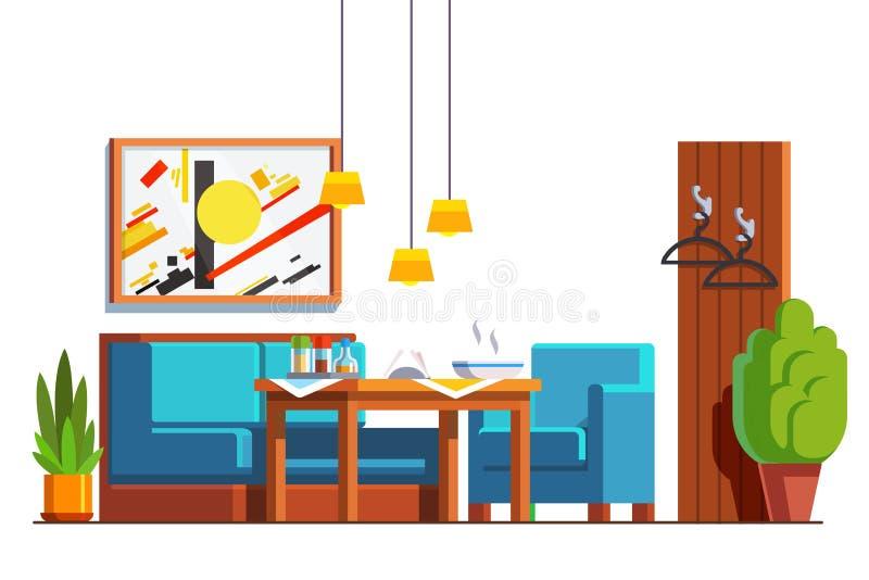 Kafé eller restaurang med tabellen, soffa, stol royaltyfri illustrationer